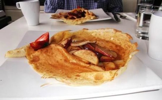 Our main dish crepe with apples and strong cheddar