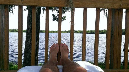 Cypress Cove Nudist Resort: Lakeside deck ...