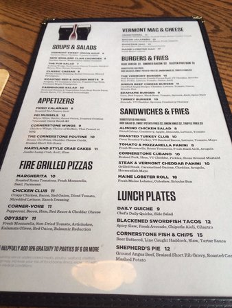 Cornerstone Pub & Kitchen: Menu