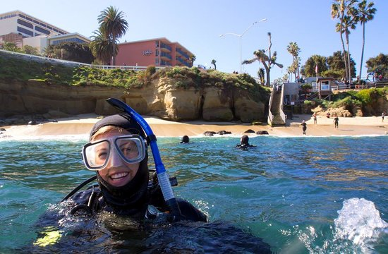 SD Expeditions: A new diver at the La Jolla Cove - photo by Kyle McBurnie
