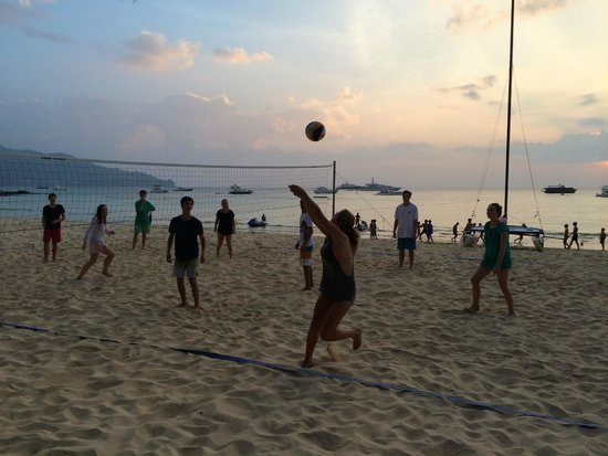 Amanpuri: sunset volleyball game on the beach