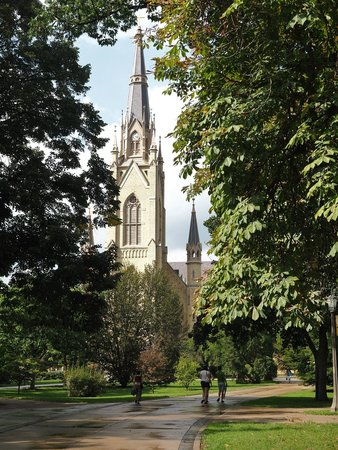 University of Notre Dame: View of the Basilica spire, tallest structure on campus