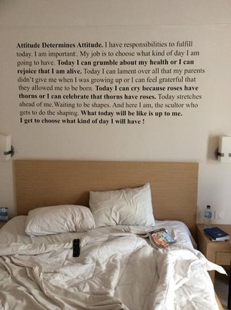 The Tusita Hotel: nice quote on the wall of my room (but needs proofreading/editing)