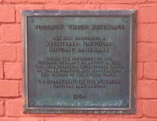Woodrow Wilson Birthplace: Birthplace Plaque