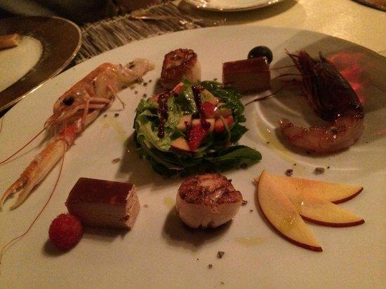 La Fontanina : foie gras, scallops, crayfish and shrimp