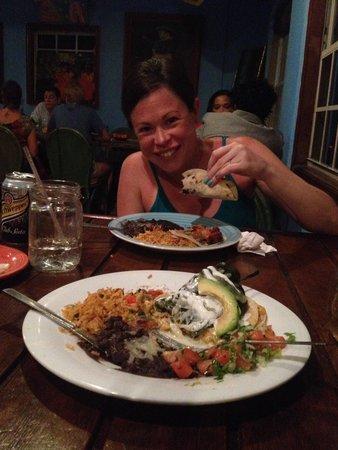 Mis Amigos: Yum- poblano plate and tacos.