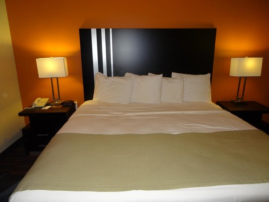 AmericInn Lodge & Suites Shakopee - Canterbury Park: The bed looks lovely but the blanket won't keep you warm.