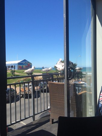 Starfish Cafe and Bar: Good view from upstairs. Seagulls like to raid plates :-)