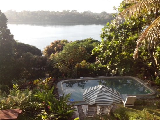 Seachange Lodge: Spectacular view of the lagoon, garden & pool from the balcony.