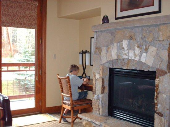 Valdoro Mountain Lodge: fireplace with free wifi corner