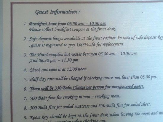 Swan Hotel Bangkok: Hot water times