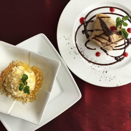 Yogurt mousse & crispy rice, passion fruit sauce and French pancake with vanilla ice cream, choc