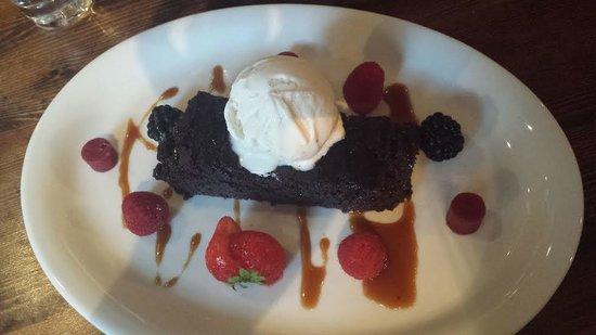 The best dessert EVER! Brownie/ice cream, berries & salted caramel :D