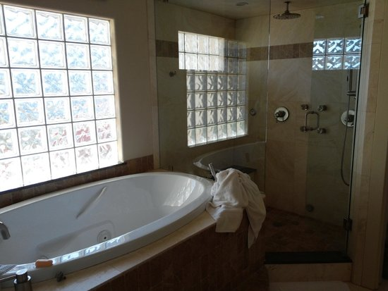 Inn on Lake Granbury: Jaquzzi Tub and Shower/sauna