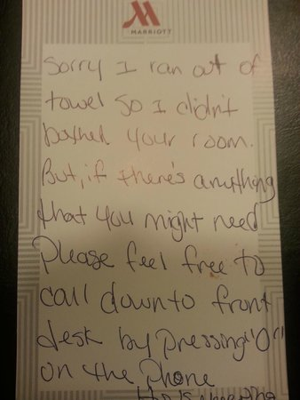 Peoria Marriott Pere Marquette : Note from housekeeping