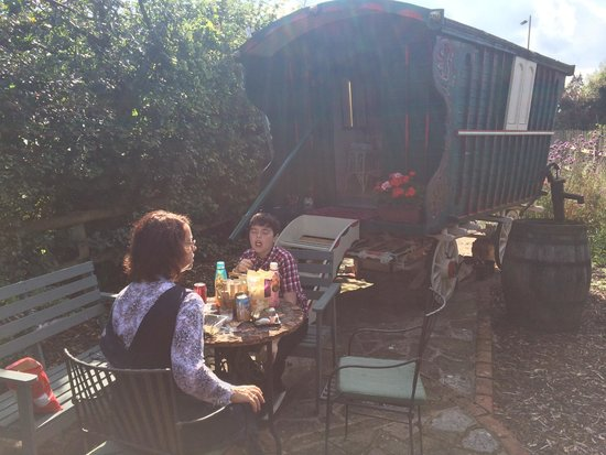 Manor Cottage Bed & Breakfast: Picnic by the Caravan in the back garden!