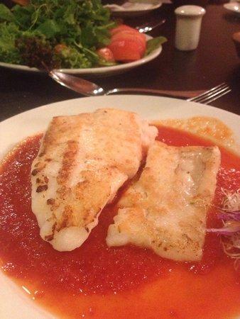 Merluza filet with sauce