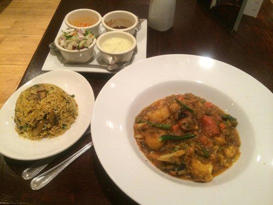 Marston Green, UK: Mushroom rice and Kali Mirchi