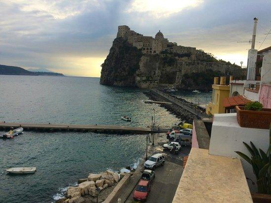 Villa Lieta: view from roof terrace towards Aragonese Castle