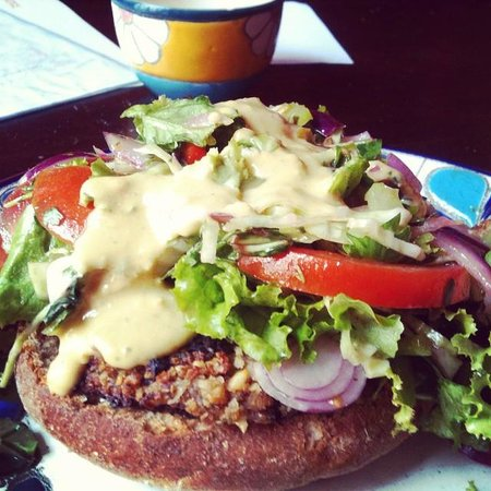 Nectar : veggie black bean burger.