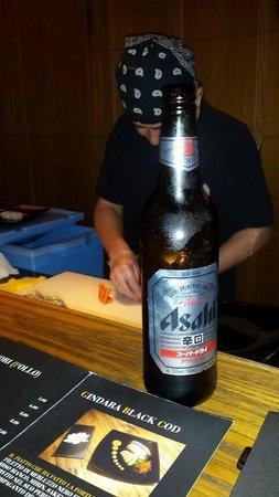 Jorudan Sushi: Chef Mori e una bella birra Asahi