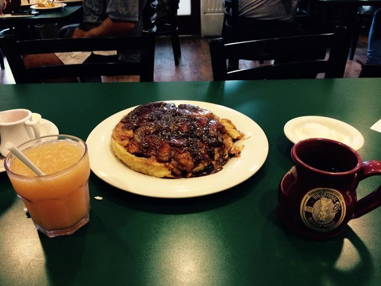 The Original Pancake House: Fresh squeezed fruit juice, ginormous Apple pancake, and nummy coffee. :)