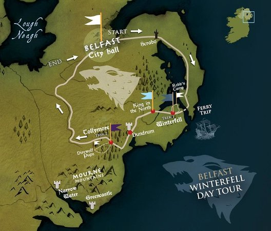 Belfast winterfell tour map picture of game of thrones tours game of thrones tours belfast winterfell tour map gumiabroncs Image collections