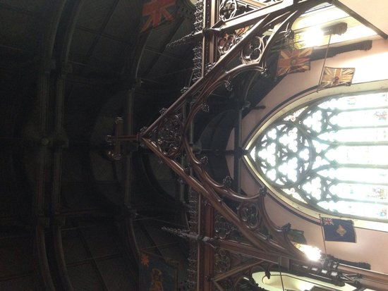 "Trinity Church: Stained glass and ""boat hull"" appearing ceiling"
