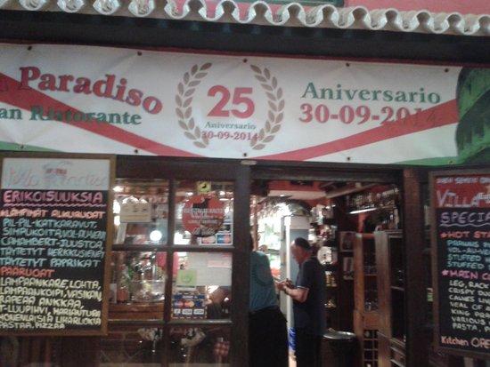 Italian Restaurant Villa Paradiso : 25 aniversario del retaurante Villa Paradiso