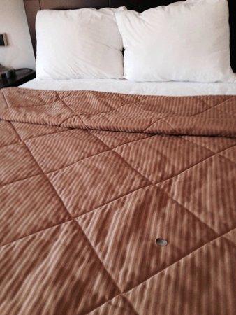 Super 8 White River Junction: Hole on my bed linen