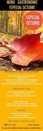 Restaurant Diego-La Terrassa by Sonia: MENU GASTRONOMICO ESPECIAL MES DE OCTUBRE