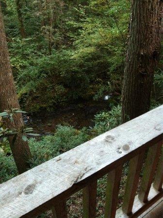 Garden of Eden Cabins: Porch over looking the creek.