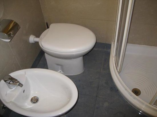 Amalfi Hotel: no room between the wall and the toilet or the shower and the toilet