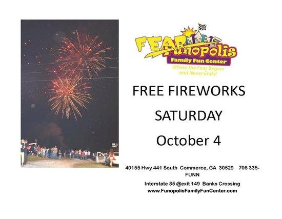 Funopolis Family Fun Center: free fireworks Sat oct 4