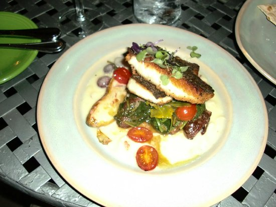 Alley House Grille: Colorado Catch Farms Striped Bass with Sautéed Spinach & Grape Tomatoes, Garlic Roasted Potatoes
