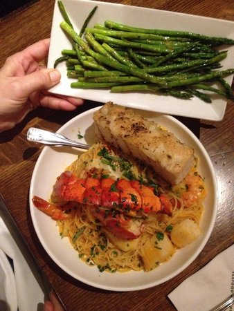 The Mooring : Seafood pasta with a side of asparagus!