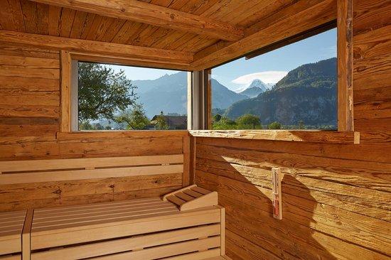 Landhotel Golf: Salzano SPA - Altholz-Sauna mit Eigerblick