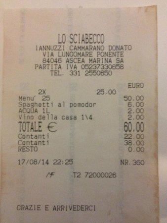 Marina di Ascea, Italy: Lo scontrino. Le altre foto sono andate perse purtroppo...