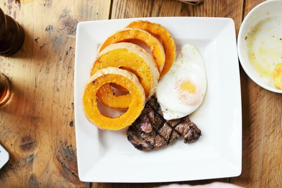 Dog & Fox: steak with egg and butternut squash
