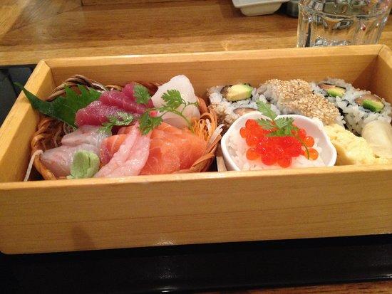 Yuzu: Sashimi/sushi portion of bento box