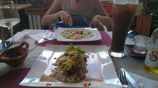 Rosa Mexicano: Green ceviche and mushroom risotto , delicious