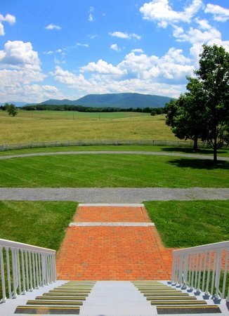 Belle Grove Plantation: View from the Manor House entrance, looking towards Massanutten Mountain