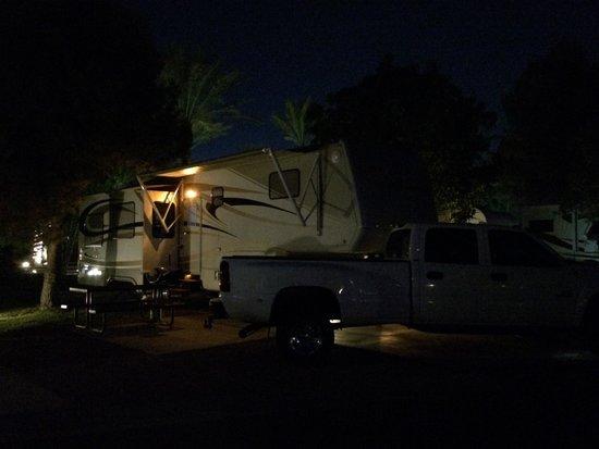 Oasis Las Vegas RV Resort : Our campsite at night :)