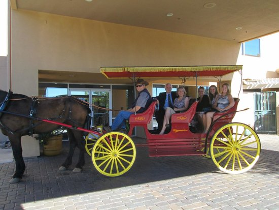 SpringHill Suites Prescott: Hotel offers water and shade to this horse drawn carriage - front door pick-ups!