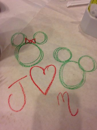 Cape May Cafe : Drawing on the table cloth