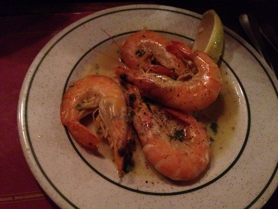 Madeira: King prawns in garlic and white wine sauce starter. Amazing!