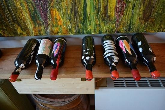 Wine Tours with Italy and Wine: gorgeous hand painted wine bottles.