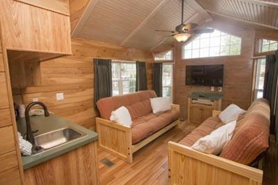 Kings Dominion Camp Wilderness Campground: living room with double futons