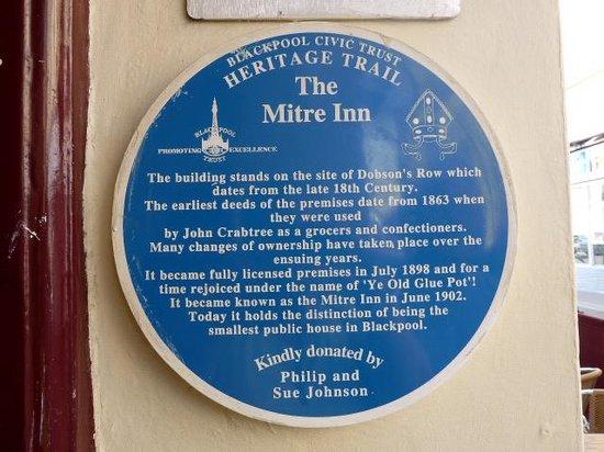 The Mitre Pub: Plaque at front door