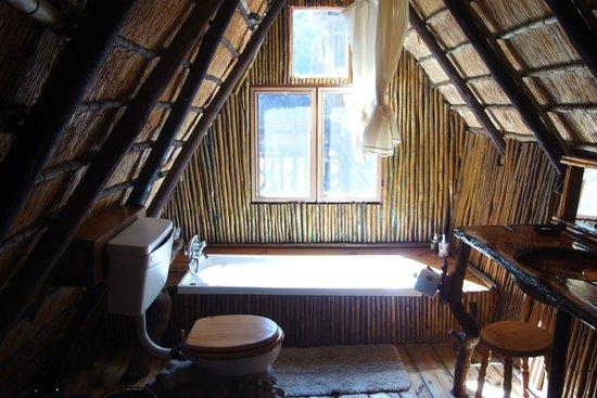 Pezulu Tree House Game Lodge: bagno interno  della mia camera